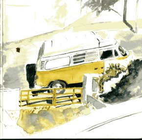 Tegning av folkevognbussen mens jeg venter